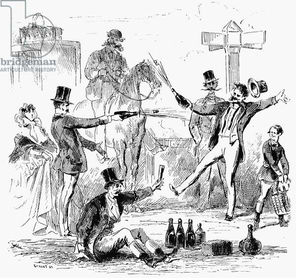 CHAMPAGNE DUEL Line engraving, French, mid-19th century.