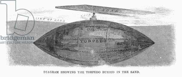 CIVIL WAR: LAND MINE, 1863 Confederate torpedo (land mine) placed in the sand in front of a battery defending Charleston, South Carolina in the American Civil War. Wood engraving, 1863.