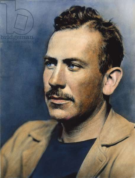 JOHN STEINBECK (1902-1968) Oil over a photograph, c.1940.