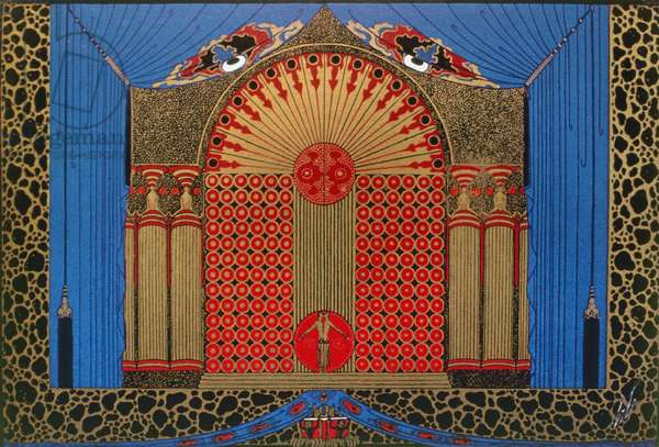 ERTÉ: SET DESIGN, 1925 Set design by Erté, 1925, for an oriental ballet scene in the film 'Paris,' released the following year.