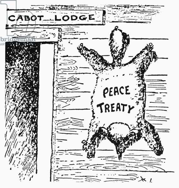 CARTOON: LEAGUE OF NATIONS, 1920. 'The Coonskin on the Wall.' American cartoon blaming the demise in the U.S. Senate of the League of Nations on Senator Henry Cabot Lodge, who had appended to the pact 14 reservations deemed unacceptable by the League's foremost champion, President Woodrow Wilson. Cartoon, 1920.