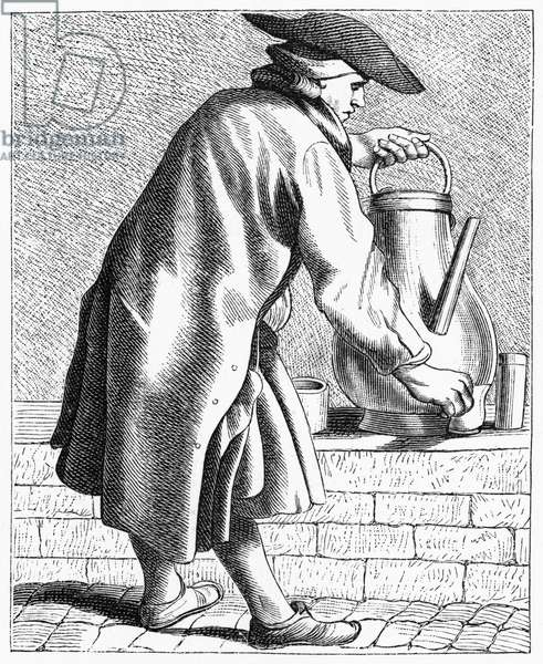 PARISIAN COFFEE VENDOR A Parisian street-crier offering coffee for sale. Wood engraving, 1875, after an etching by Edmé Bouchardon, c.1740.