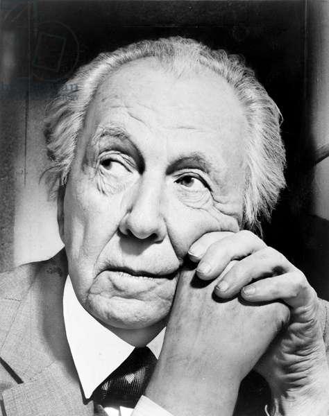 FRANK LLOYD WRIGHT (1869-1959). American architect. Photograph, 1954.