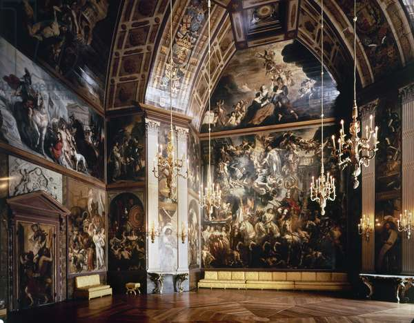 HOLLAND: HUIS TEN BOSCH The interior of Orange Hall at Huis ten Bosch (House in the Woods) built in the 1640s near The Hague. Orange Hall was designed by Jacob van Campen, and the large panel was painted by Jacob Jordaens.