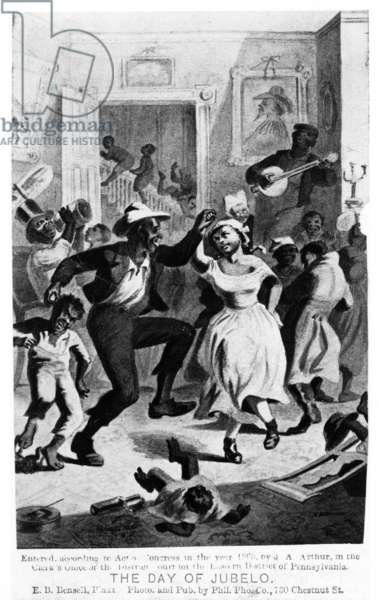 SLAVERY: DANCING, c.1865 'The Day of Jubelo.' Freed slaves dancing in a plantation home. Illustration by Edmund Birckhead Bensell, c.1865.