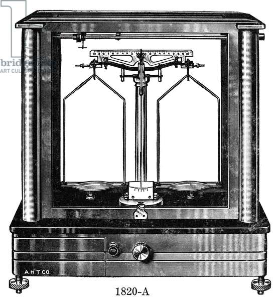 BALANCE, 20th CENTURY Modern analytical balance. Line engraving, mid 20th century.