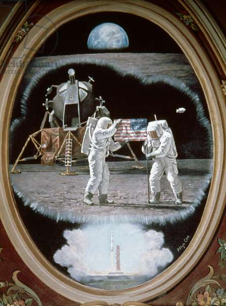 ASTRONAUTS ON THE MOON Astronauts planting U.S. flag on the moon: mural by Allyn Cox.