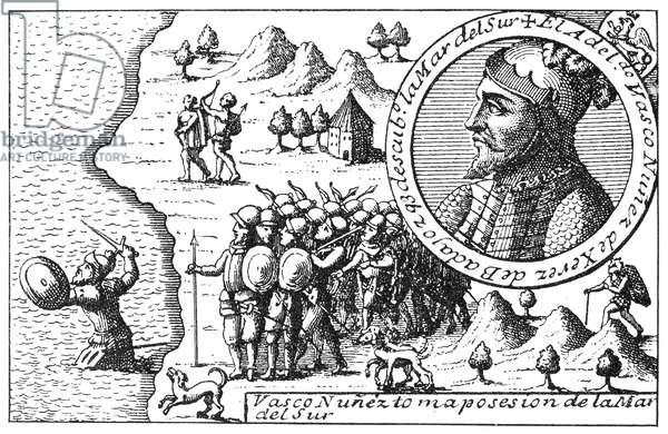 VASCO NUNEZ de BALBOA (1475-1519). Spanish explorer. Balboa taking possession of the Pacific Ocean for Spain, 29 September 1513. Copper engraving, early 18th century.