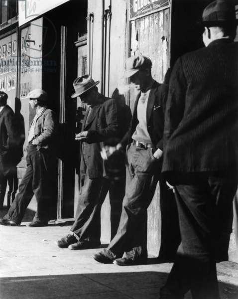 Unemployed men in San Francisco, California, 1934 (b/w photo)