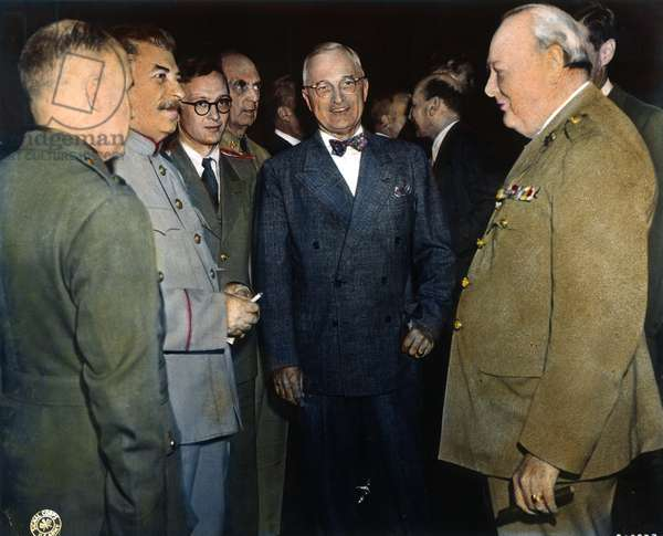WWII: POTSDAM CONFERENCE Premier Joseph Stalin, President Harry S. Truman and Prime Minister Winston S. Churchill on the opening day of the Potsdam Conference: oil over a photograph, 17 July 1945.