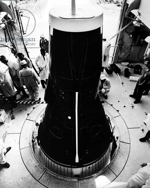 GEMINI IV SPACECRAFT, 1965 Both hatches are secured on the Gemini IV spacecraft prior to its launch, 3 June 1965.