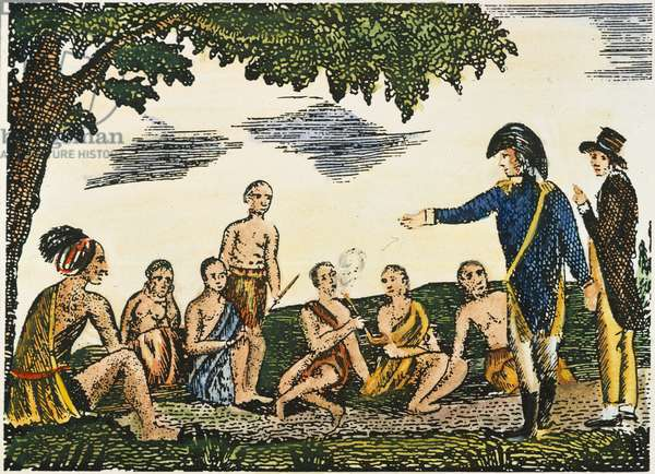 LEWIS & CLARK: NATIVE AMERICANS, 1800s Meiwether Lewis (wearing cocked hat) and William Clark parleying with friendly Native Americans at the beginning of their expedition. coloured  engraving, 1811, from a contemporary account of the expedition.