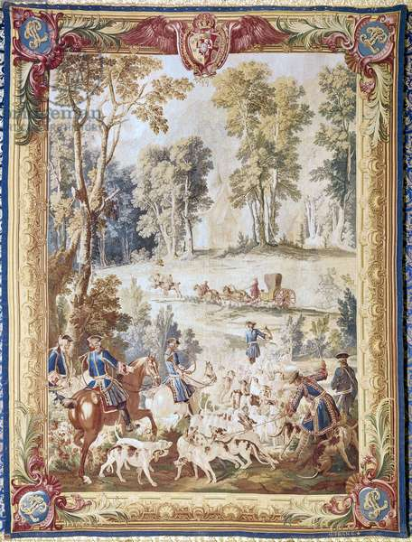 LOUIS XV (1710-1774) King of France, 1715-1774. The Hunt of Louis XV. Gobelins tapestry by J.B. Oudry, 1743.