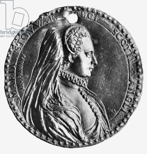 MARY, QUEEN OF SCOTS (1542-1587). Mary Stuart, Queen of Scotland, 1542-1567. Lead medal, 1572, by Jacopo Primavera.