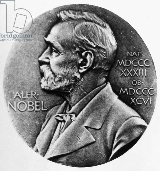 NOBEL PRIZE Obverse of the Nobel Prize medal, first awarded in 1901, bearing the likeness of Swedish chemist and engineer Alfred Nobel (1833-1896), who established the fund for the prizes.