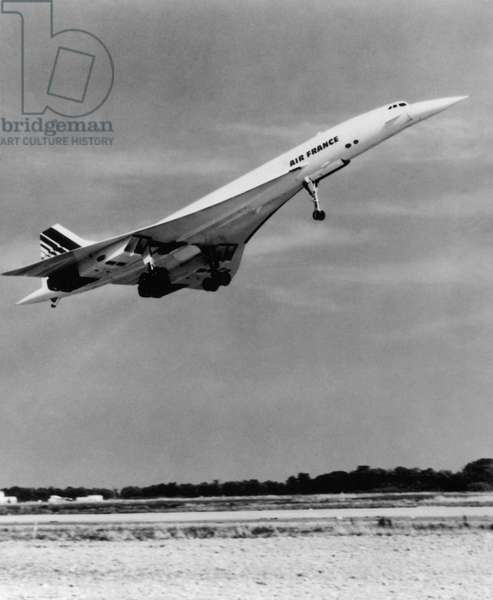 CONCORDE JET AIRPLANE. A French passenger jet plane takes off.