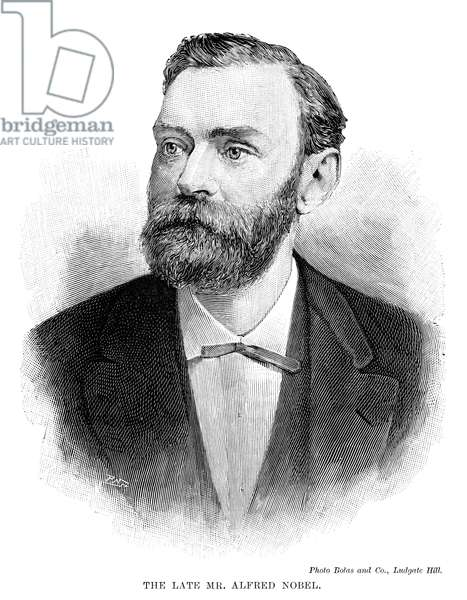 ALFRED NOBEL (1833-1896). Swedish chemist and engineer. Line engraving 1897.