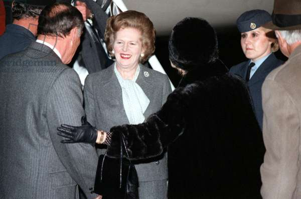 MARGARET THATCHER (1925-2013). English politician. Arriving in the United States for a state visit. Photograph, 26 February 1981.