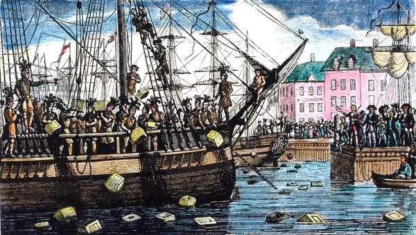 BOSTON TEA PARTY, 1773 (Wood engraving) c.1850.