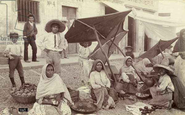 MEXICO: MARKET, c.1915 Women selling fruits and vegetables at a market in Mexico. Photograph, c.1915.
