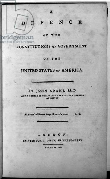 ADAMS: TITLE PAGE, 1787 Title page of John Adams' 'A Defence of the Constitutions of Government of the United States of America,' 1787.