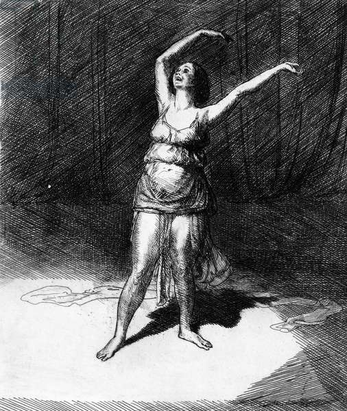 ISADORA DUNCAN (1877-1927) American dancer. Etching by James Sloan, 1915.