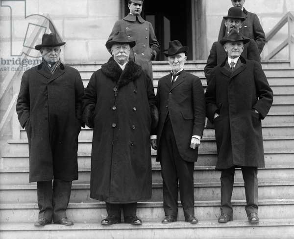 WILLIAM HOWARD TAFT (1857-1930). 27th President of the United States. Right to left: Champ Clark, Taft, Joseph G. Cannon and Samuel McCall. Photograph, c.1920.