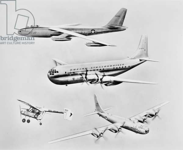 BOEING MILITARY AIRPLANES Four American Boeing miltary aircrafts, c.1950.