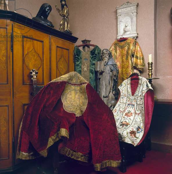 CHURCH VESTMENTS, c.1500 Vestments of clergy in the Roman Catholic Church, c.1500.