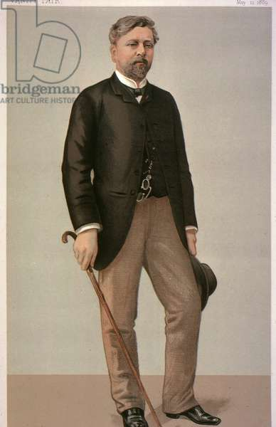 ALEXANDRE GUSTAVE EIFFEL (1832-1923). French engineer. Lithograph, 1889, by Jean Baptiste Guth.