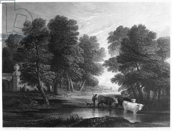 GAINSBOROUGH: SCENIC VIEW Scenic view of the English countryside. Steel engraving, c.1830, after the painting by Thomas Gainsborough (1727-1788).