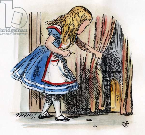 CARROLL: ALICE, 1865 Behind a low curtain Alice notices a little door. After the design by Sir John Tenniel for the first edition of Lewis Carroll's 'Alice's Adventures in Wonderland'.