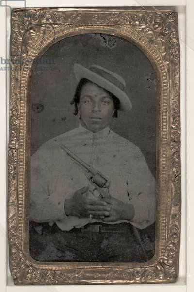 MAN, c.1865 Portrait of a civilian man holding a revolver. Tintype, c.1865.