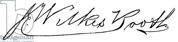 JOHN WILKES BOOTH (1838-1865) American actor who assassinated Abraham Lincoln. Autograph signature.
