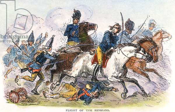 FLIGHT OF THE HESSIANS, 1776 The flight of the Hessian soldiers after their defeat by George Washington's forces at the Battle of Trenton, New Jersey, on 26 December 1776. coloured  engraving, 19th century.