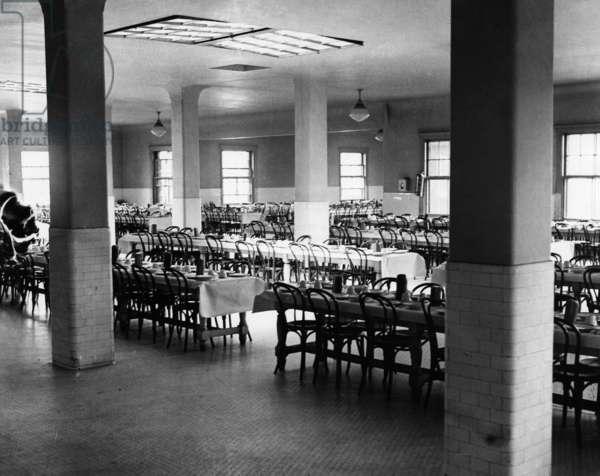 ELLIS ISLAND, 1931 The dining hall at Ellis Island. Photograph, 1931.