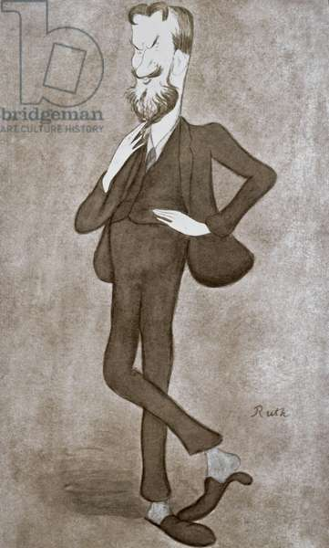 GEORGE BERNARD SHAW (1856-1950). Irish playwright and critic. Caricature lithograph, 1905 by 'Ruth' (Max Beerbohm).