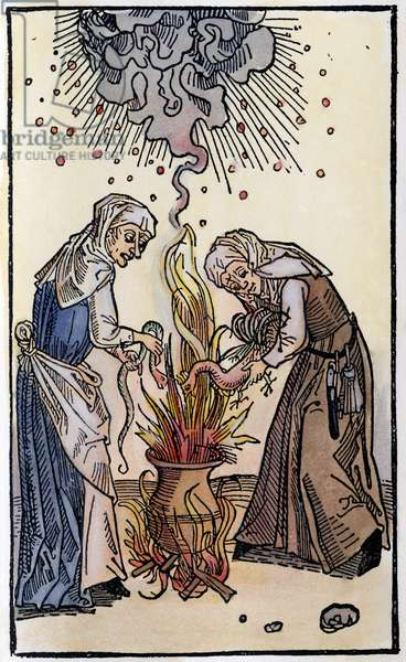 WITCHES, 1508 Witches brewing up a storm. German woodcut, 1508.