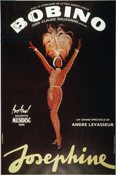 JOSEPHINE BAKER (1906-1975) American dancer. Baker on a French music hall poster celebrating her 50th year on the stage, 1975.
