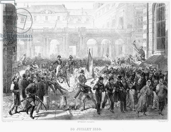 PARIS: REVOLUTION OF 1830 Following their successful overthrow of King Charles X, revolutionaries in Paris, France, dismantle a barricade to make way for the Duke of Orléans, Louis Philippe (on horseback), who has accepted the throne of France on terms agreeable to them, 30 July 1830. Steel engraving, French, c.1850, after a painting by Horace Vernet.