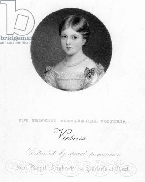 VICTORIA (1819-1901) Queen of Great Britain, 1837-1901. Aquatint, c. 1826, showing her as the Royal Princess Alexandrina-Victoria.