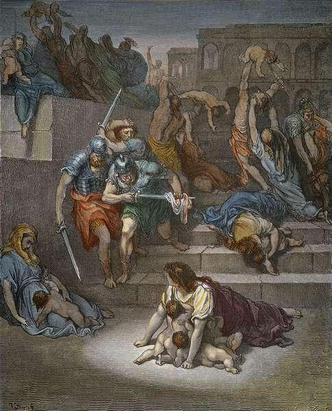 DORÉ: MASSACRE The Massacre of the Innocents (Matthew 2:16). Wood engraving after Gustave Doré.
