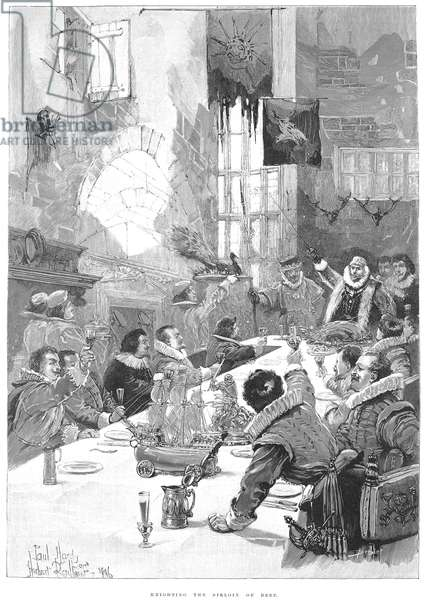 KNIGHTING THE SIRLOIN King Charles II, or King James I, knighting the beef (Sir Loin). Wood engraving, English, 1896.