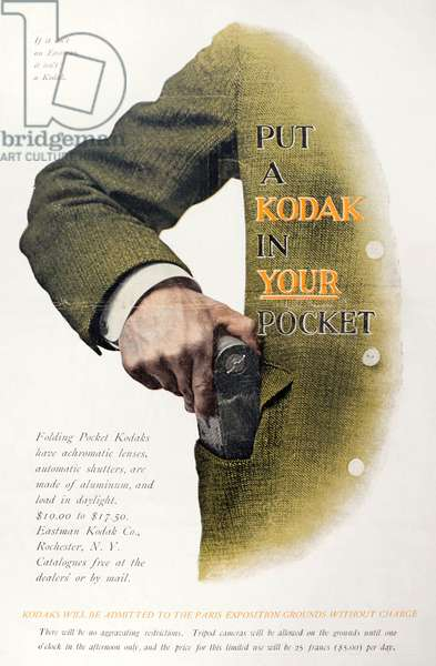 KODAK ADVERTISEMENT 'Put a Kodak in Your Pocket.' Advertisement for an Eastman Kodak hand-held camera, from an American magazine, early 20th century.