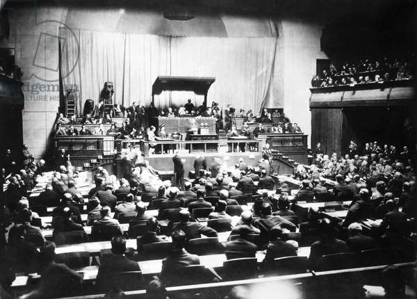 LEAGUE OF NATIONS, 1924 Opening session of the Fifth Assembly of the League of Nations in the Hall of the Reformation, Geneva, Switzerland, 1 September 1924.
