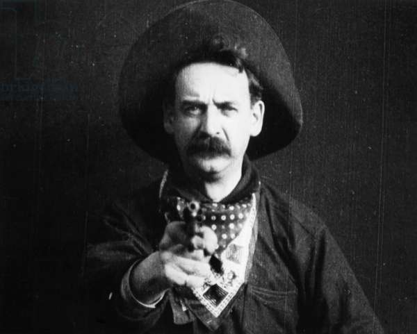 GREAT TRAIN ROBBERY, 1903 Justus D. Barnes in the film 'The Great Train Robbery' made by the Edison Company in 1903.