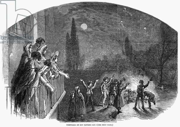 GUY FAWKES' DAY, 1848 The burning of an effigy to commemorate the foiling of the attempt led by Guy Fawkes on 5 November 1605, to blow up the king and members of Parliament in retaliation for increasing repression of Roman Catholics in England. Wood engraving from an English newspaper of 1848.