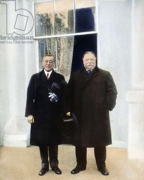 WILSON & TAFT: WHITE HOUSE President-elect Woodrow Wilson (left) and outgoing President William Howard Taft at the White House, Washington, D.C., on Inauguration Day, 4 March 1913: oil over a photograph.