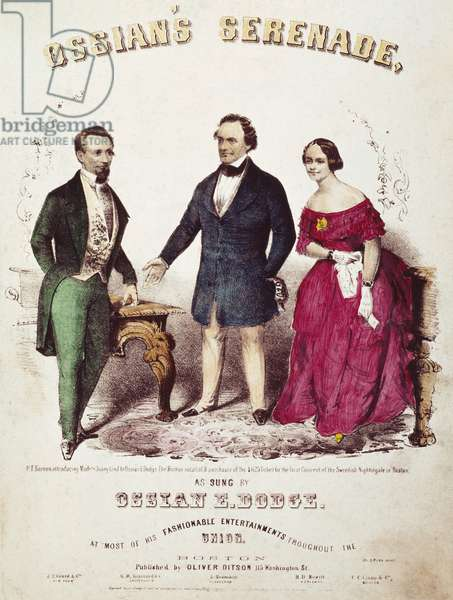 BARNUM & LIND SONGSHEET P.T. Barnum (center) and Jenny Lind on an 1850 American sheet music cover.
