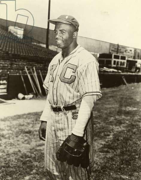 JACKIE ROBINSON (1919-1972) American baseball player. Photograph, 1945.